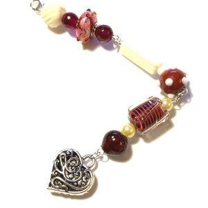 Crimson & Cream Heart Purse Charms Clip